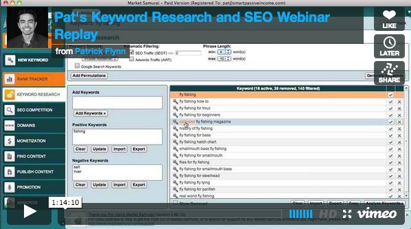 keyword research and seo with market samurai